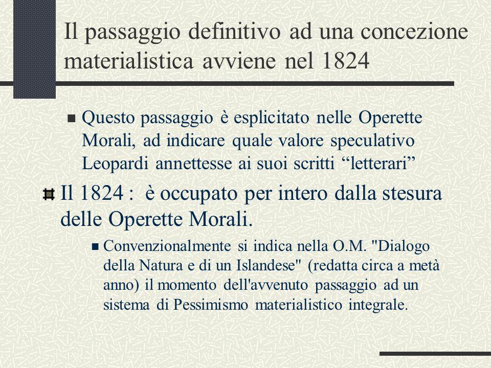 Il passaggio definitivo ad una concezione materialistica avviene nel 1824 Questo passaggio è esplicitato nelle Operette Morali, ad indicare quale valo