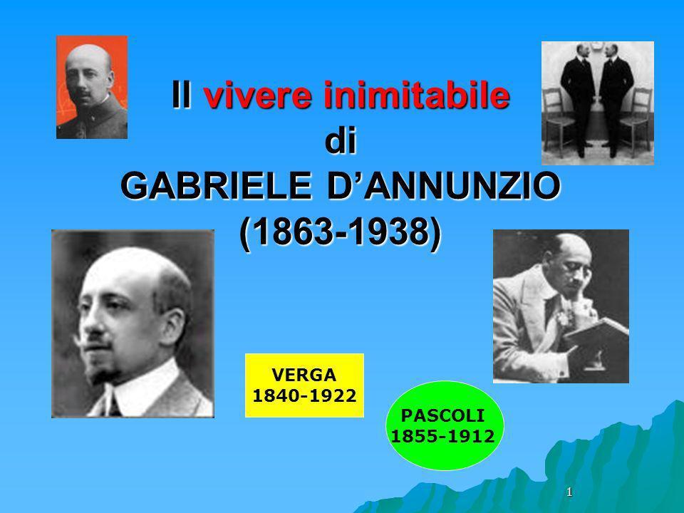 1 Il vivere inimitabile di GABRIELE DANNUNZIO (1863-1938) VERGA 1840-1922 PASCOLI 1855-1912