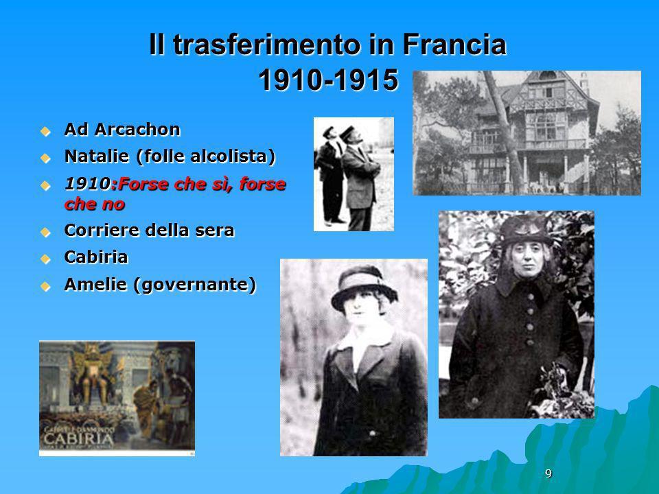 9 Il trasferimento in Francia 1910-1915 Ad Arcachon Ad Arcachon Natalie (folle alcolista) Natalie (folle alcolista) 1910:Forse che sì, forse che no 19