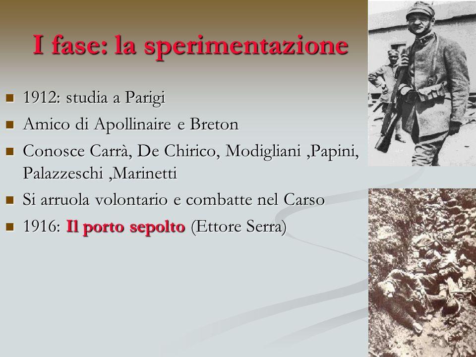 I fase: la sperimentazione 1912: studia a Parigi 1912: studia a Parigi Amico di Apollinaire e Breton Amico di Apollinaire e Breton Conosce Carrà, De C
