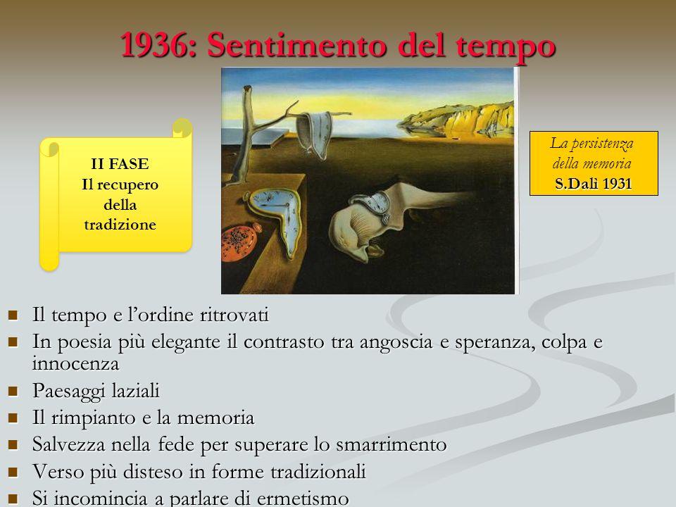 1936: Sentimento del tempo Il tempo e lordine ritrovati Il tempo e lordine ritrovati In poesia più elegante il contrasto tra angoscia e speranza, colp