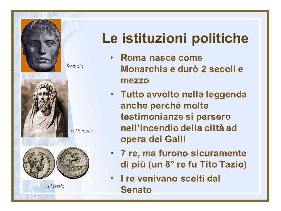 Le istituzioni politiche Roma nasce come Monarchia e durò 2 secoli e mezzo Tutto avvolto nella leggenda anche perché molte testimonianze si persero ne
