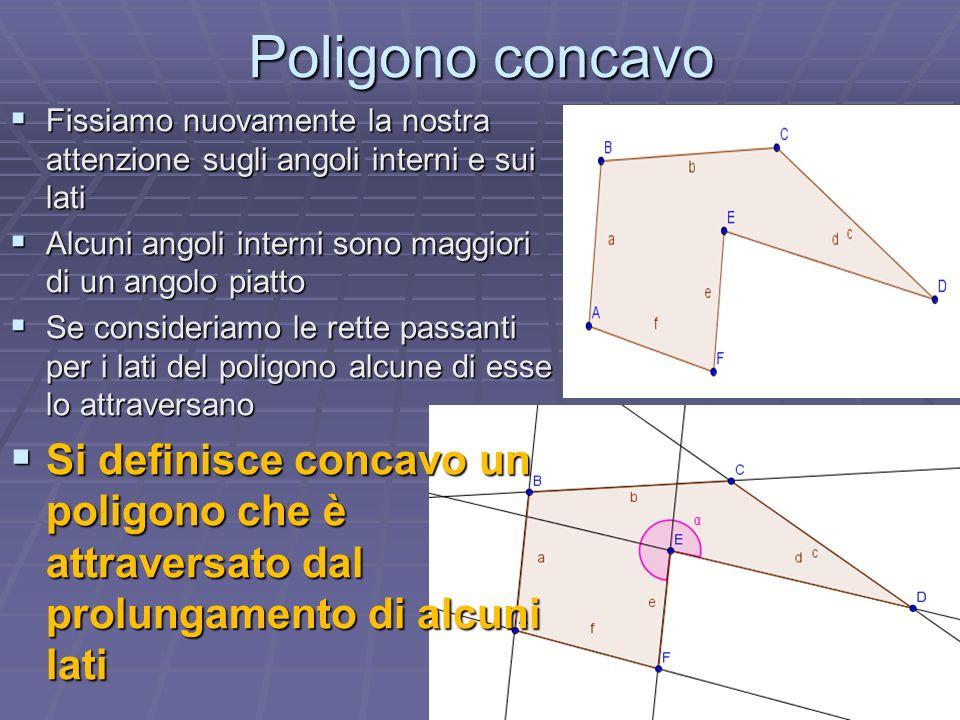 Poligono concavo Fissiamo nuovamente la nostra attenzione sugli angoli interni e sui lati Alcuni angoli interni sono maggiori di un angolo piatto Se c