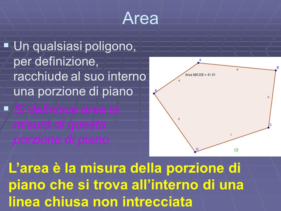 Area U n qualsiasi poligono, per definizione, racchiude al suo interno una porzione di piano S i definisce area la misura di questa porzione di piano