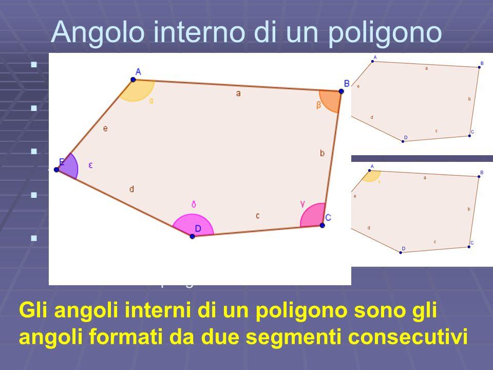 Angolo interno di un poligono Prendiamo in considerazione la parola pentagono Essa deriva dai termini penta che significa 5 e gono che significa angol