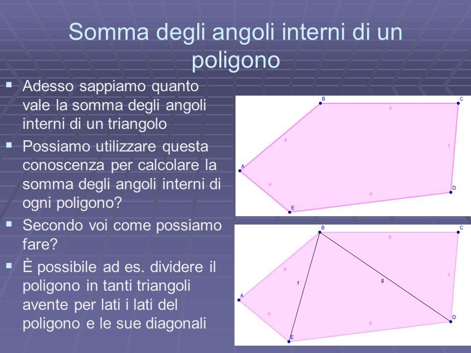 Somma degli angoli interni di un poligono Adesso sappiamo quanto vale la somma degli angoli interni di un triangolo Possiamo utilizzare questa conosce