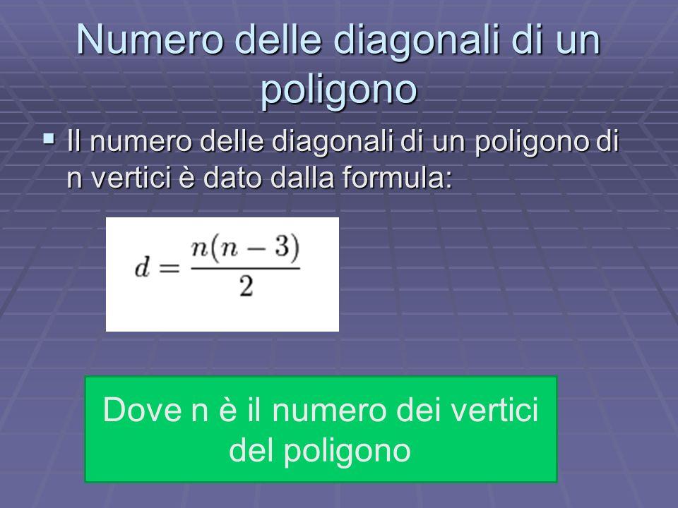 Numero delle diagonali di un poligono Il numero delle diagonali di un poligono di n vertici è dato dalla formula: Il numero delle diagonali di un poli