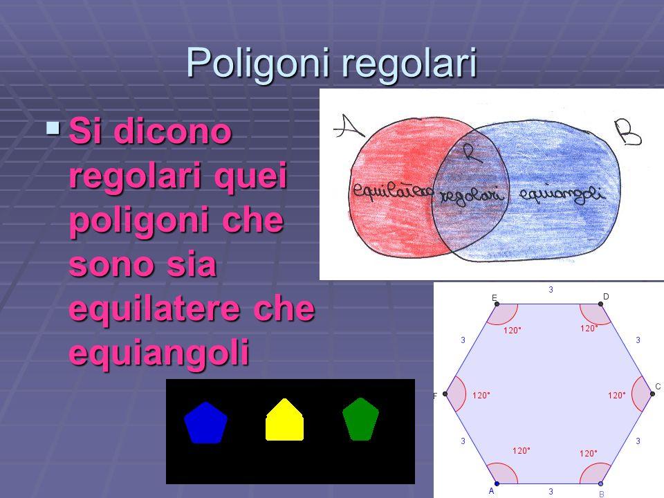 Poligoni regolari Si dicono regolari quei poligoni che sono sia equilatere che equiangoli