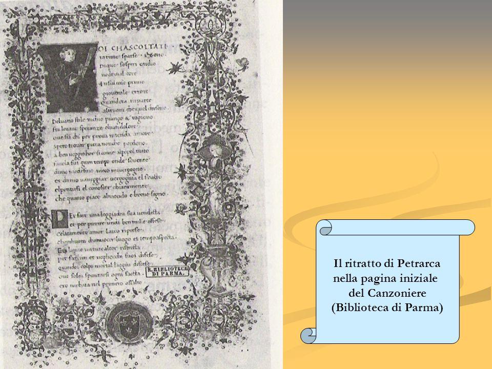 Il ritratto di Petrarca nella pagina iniziale del Canzoniere (Biblioteca di Parma)