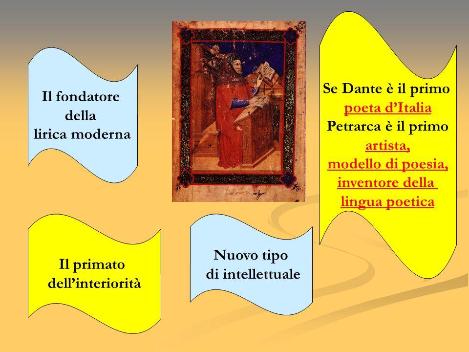 Il fondatore della lirica moderna Il primato dellinteriorità Nuovo tipo di intellettuale Se Dante è il primo poeta dItalia Petrarca è il primo artista