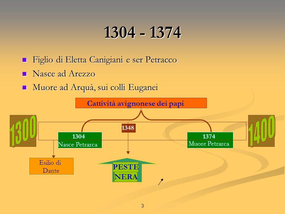 3 1304 - 1374 Figlio di Eletta Canigiani e ser Petracco Figlio di Eletta Canigiani e ser Petracco Nasce ad Arezzo Nasce ad Arezzo Muore ad Arquà, sui