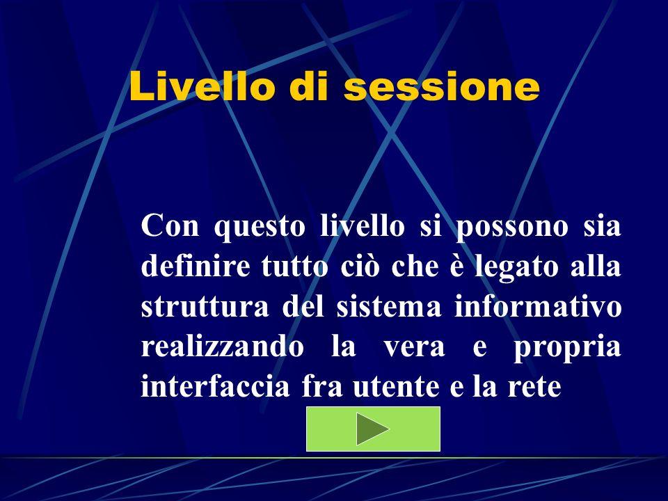 Livello di sessione Con questo livello si possono sia definire tutto ciò che è legato alla struttura del sistema informativo realizzando la vera e pro