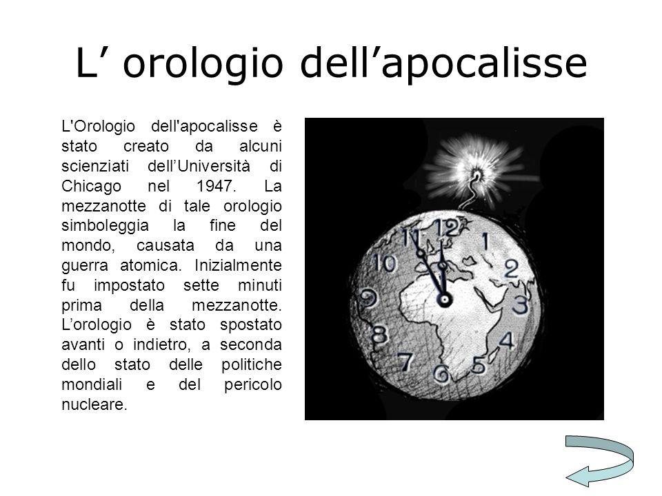 L orologio dellapocalisse L'Orologio dell'apocalisse è stato creato da alcuni scienziati dellUniversità di Chicago nel 1947. La mezzanotte di tale oro
