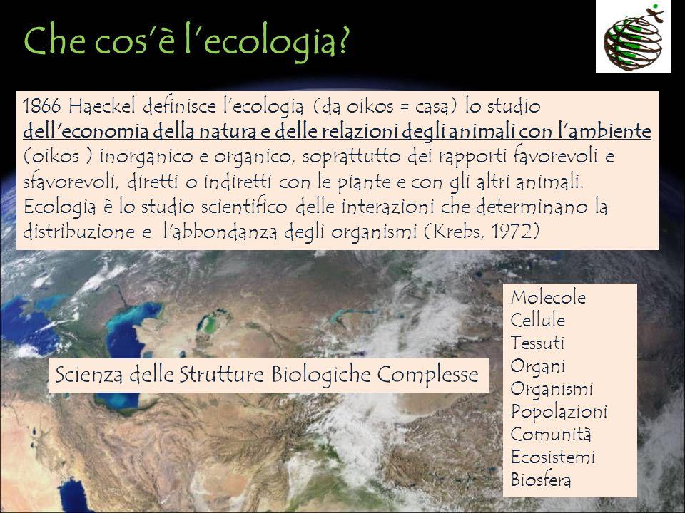 Che cosè lecologia? 1866 Haeckel definisce lecologia (da oikos = casa) lo studio dell'economia della natura e delle relazioni degli animali con lambie