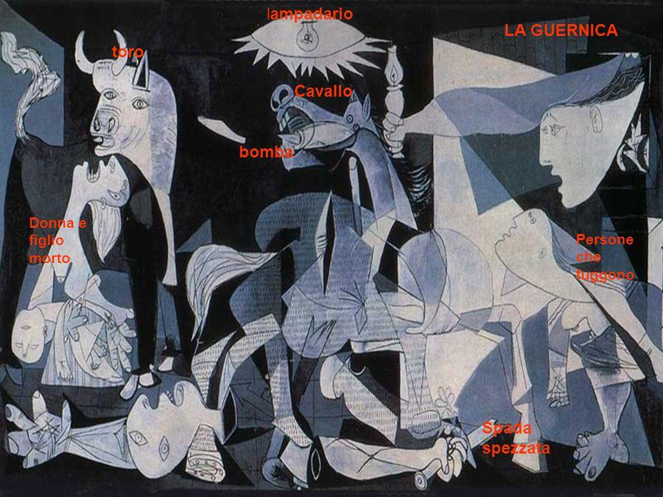 Primativo Gabriele 3°C Cavallo bomba lampadario toro Spada spezzata Donna e figlio morto Persone che fuggono LA GUERNICA