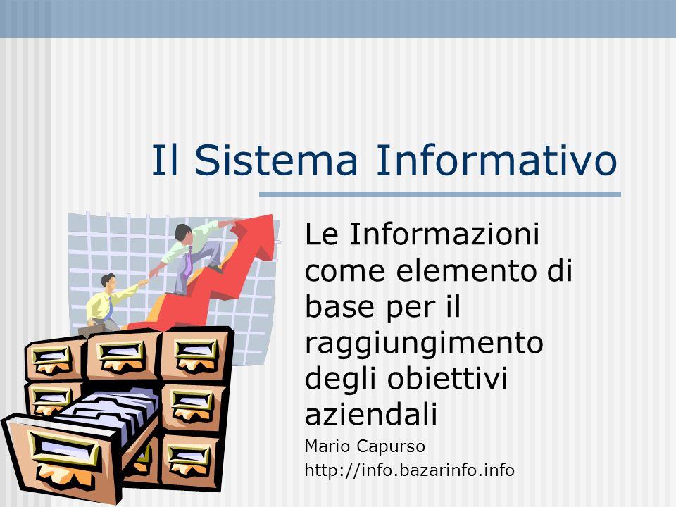 Il Sistema Informativo Le Informazioni come elemento di base per il raggiungimento degli obiettivi aziendali Mario Capurso http://info.bazarinfo.info
