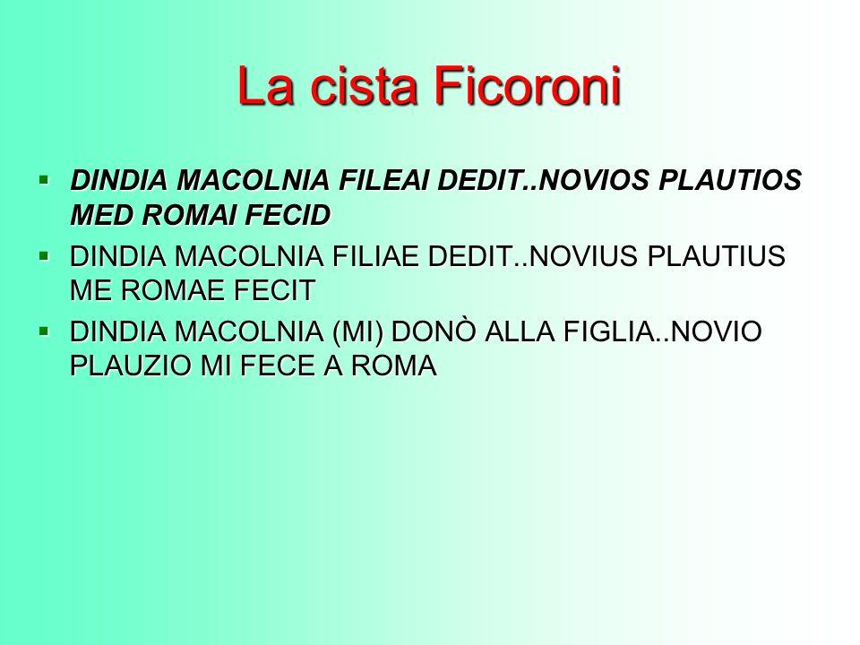 La cista Ficoroni DINDIA MACOLNIA FILEAI DEDIT..NOVIOS PLAUTIOS MED ROMAI FECID DINDIA MACOLNIA FILEAI DEDIT..NOVIOS PLAUTIOS MED ROMAI FECID DINDIA M