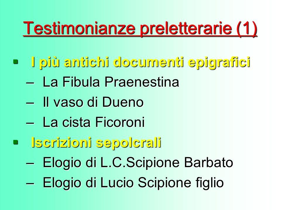 Testimonianze preletterarie (1) I più antichi documenti epigrafici –L–L–L–La Fibula Praenestina –I–I–I–Il vaso di Dueno –L–L–L–La cista Ficoroni Iscri