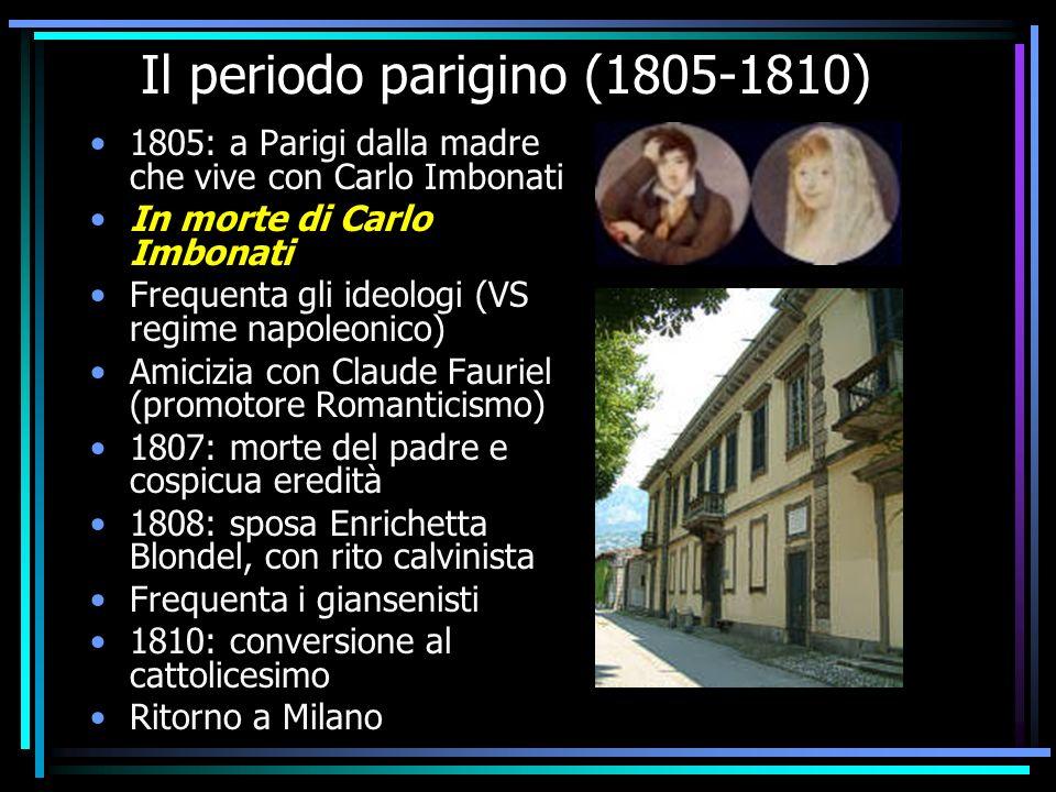 Il periodo parigino (1805-1810) 1805: a Parigi dalla madre che vive con Carlo Imbonati In morte di Carlo Imbonati Frequenta gli ideologi (VS regime na