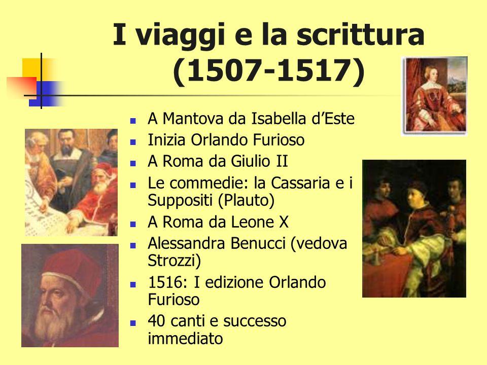 Ci vuole un lavoro! 1501-03: capitano della rocca a Canossa 1503 (29): al servizio del cardinale Ippolito DEste Da poeta a cavallar Ordini minori Inte