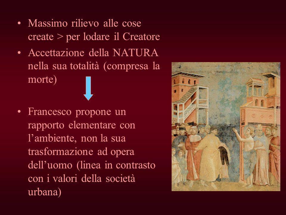 Massimo rilievo alle cose create > per lodare il Creatore Accettazione della NATURA nella sua totalità (compresa la morte) Francesco propone un rappor