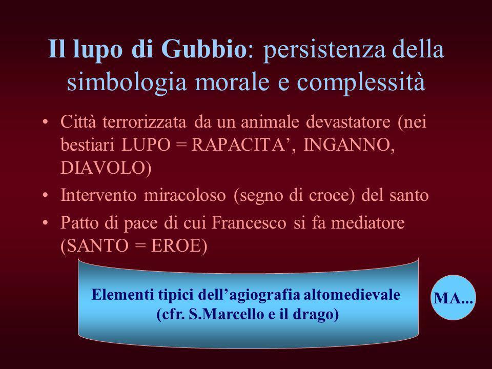 Il lupo di Gubbio: persistenza della simbologia morale e complessità Città terrorizzata da un animale devastatore (nei bestiari LUPO = RAPACITA, INGAN