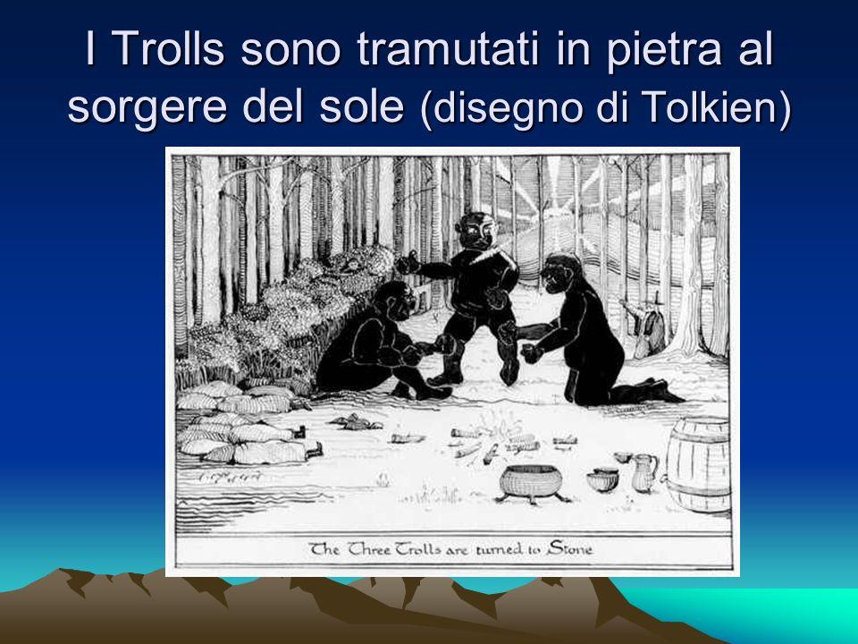 I Trolls sono tramutati in pietra al sorgere del sole (disegno di Tolkien)