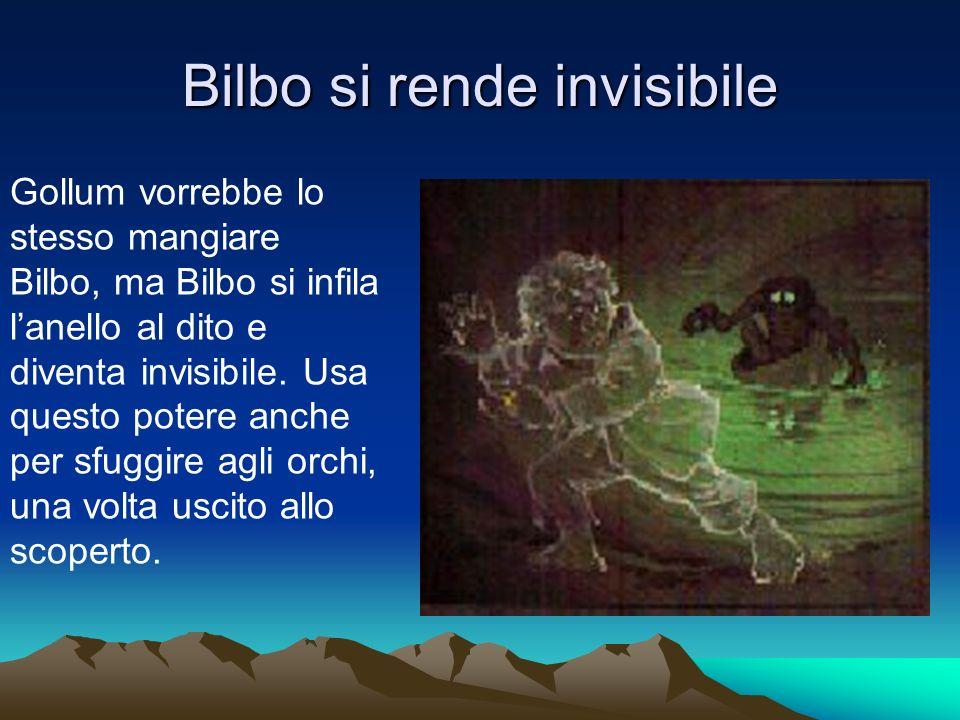Bilbo si rende invisibile Gollum vorrebbe lo stesso mangiare Bilbo, ma Bilbo si infila lanello al dito e diventa invisibile.