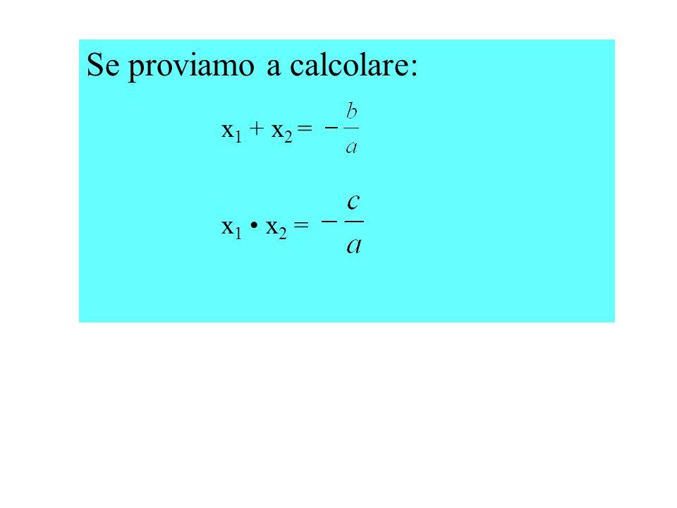 Se proviamo a calcolare: x 1 + x 2 = x 1 x 2 =