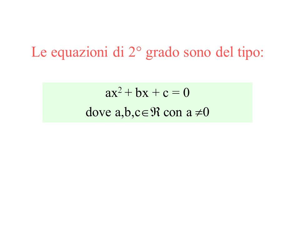 Le equazioni di 2° grado sono del tipo: ax 2 + bx + c = 0 dove a,b,c con a 0