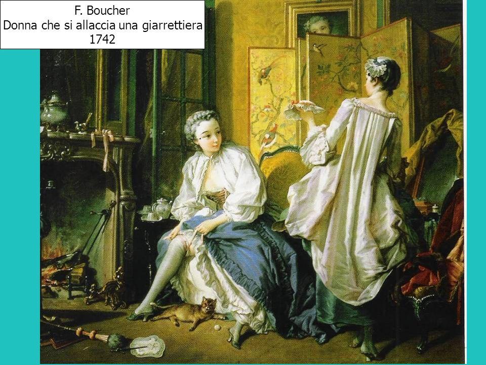 F. Boucher Donna che si allaccia una giarrettiera 1742