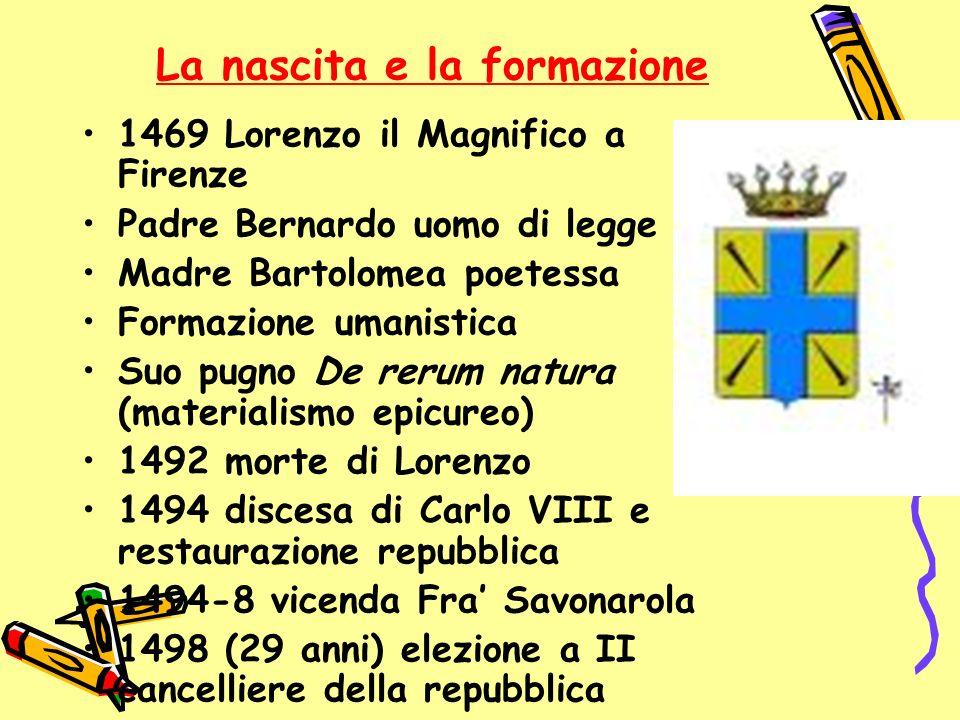 La nascita e la formazione 1469 Lorenzo il Magnifico a Firenze Padre Bernardo uomo di legge Madre Bartolomea poetessa Formazione umanistica Suo pugno
