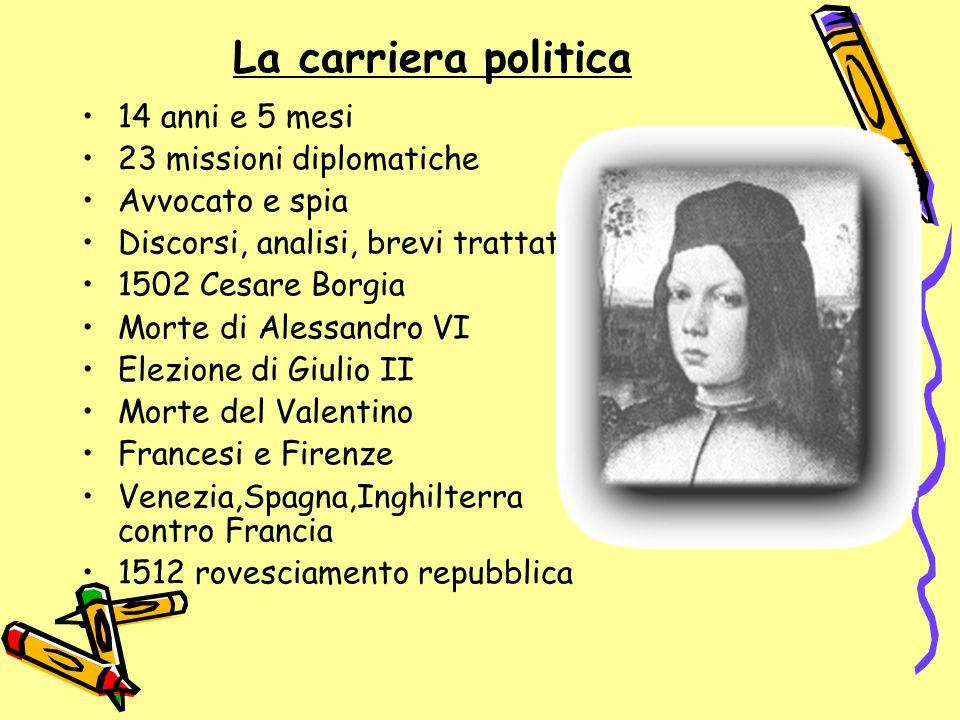 La carriera politica 14 anni e 5 mesi 23 missioni diplomatiche Avvocato e spia Discorsi, analisi, brevi trattati 1502 Cesare Borgia Morte di Alessandr