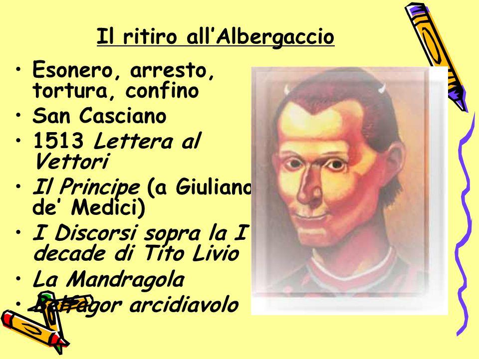 Il ritiro allAlbergaccio Esonero, arresto, tortura, confino San Casciano 1513 Lettera al Vettori Il Principe (a Giuliano de Medici) I Discorsi sopra l