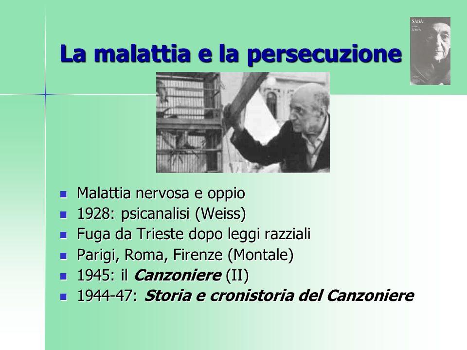 La malattia e la persecuzione Malattia nervosa e oppio Malattia nervosa e oppio 1928: psicanalisi (Weiss) 1928: psicanalisi (Weiss) Fuga da Trieste do