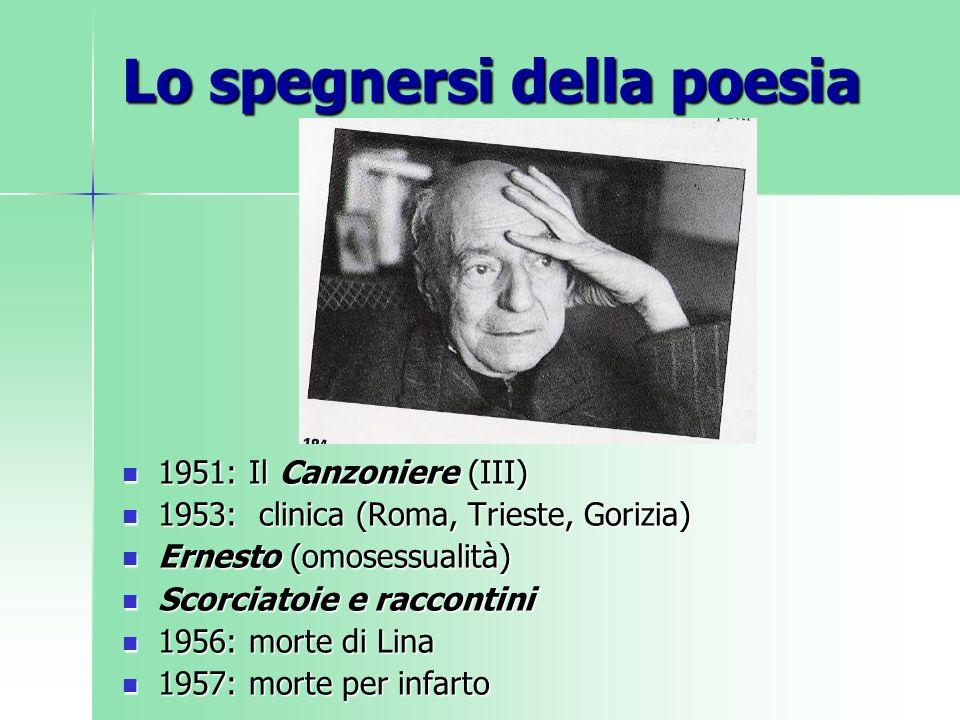 Lo spegnersi della poesia 1951: Il Canzoniere (III) 1951: Il Canzoniere (III) 1953: clinica (Roma, Trieste, Gorizia) 1953: clinica (Roma, Trieste, Gor
