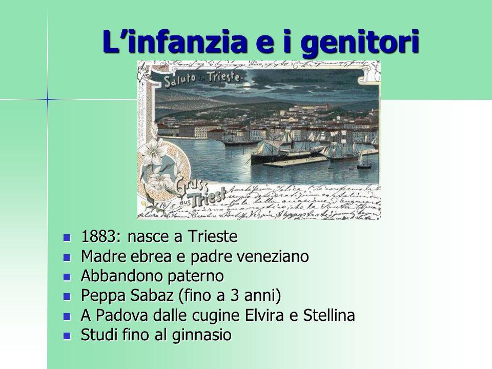 Linfanzia e i genitori 1883: nasce a Trieste 1883: nasce a Trieste Madre ebrea e padre veneziano Madre ebrea e padre veneziano Abbandono paterno Abban