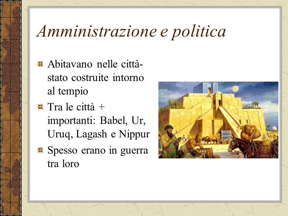 Amministrazione e politica Abitavano nelle città- stato costruite intorno al tempio Tra le città + importanti: Babel, Ur, Uruq, Lagash e Nippur Spesso
