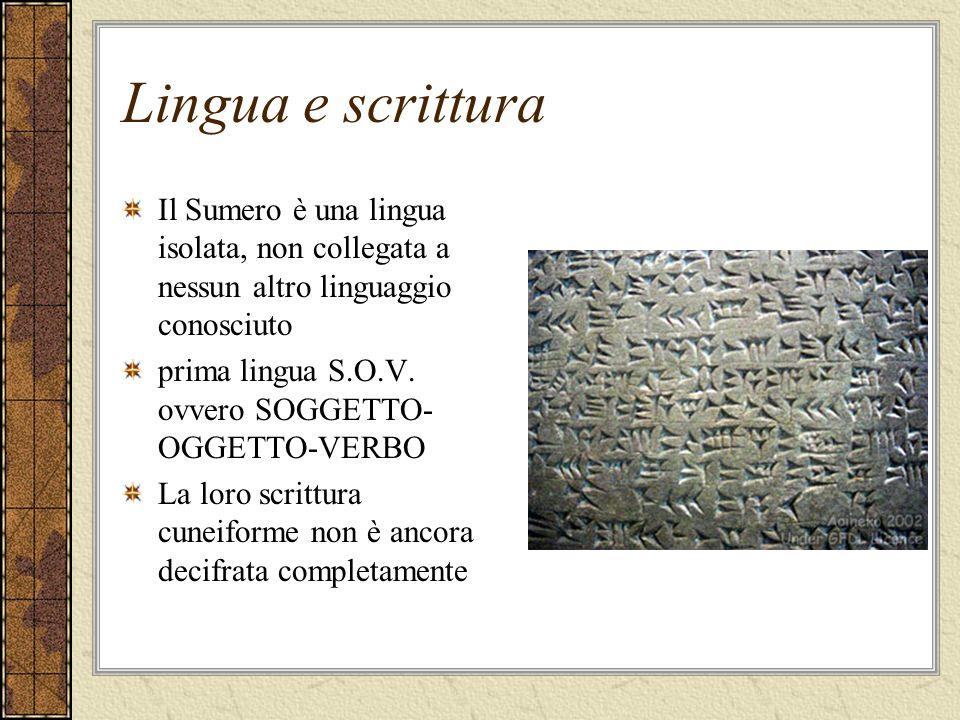 Lingua e scrittura Il Sumero è una lingua isolata, non collegata a nessun altro linguaggio conosciuto prima lingua S.O.V. ovvero SOGGETTO- OGGETTO-VER
