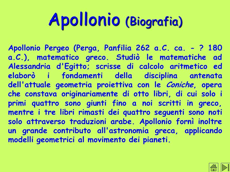 Apollonio (Biografia) Apollonio Pergeo (Perga, Panfilia 262 a.C.