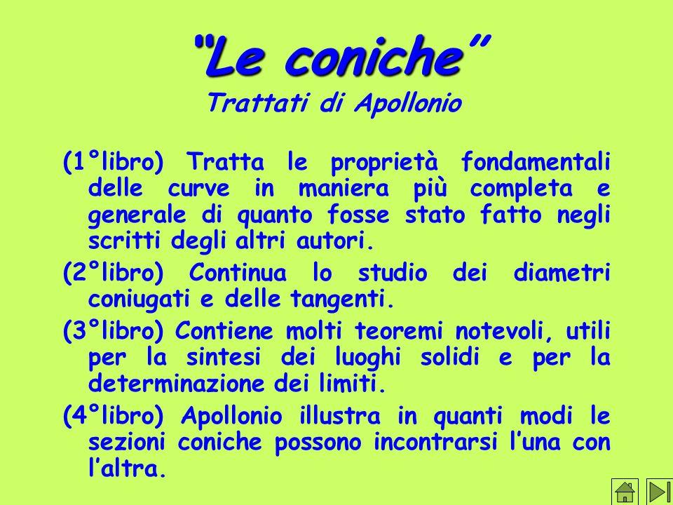 Le coniche Trattati di Apollonio (1°libro) Tratta le proprietà fondamentali delle curve in maniera più completa e generale di quanto fosse stato fatto negli scritti degli altri autori.