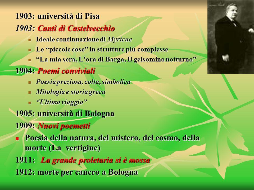 1903: università di Pisa 1903: Canti di Castelvecchio Ideale continuazione di Myricae Ideale continuazione di Myricae Le piccole cose in strutture più