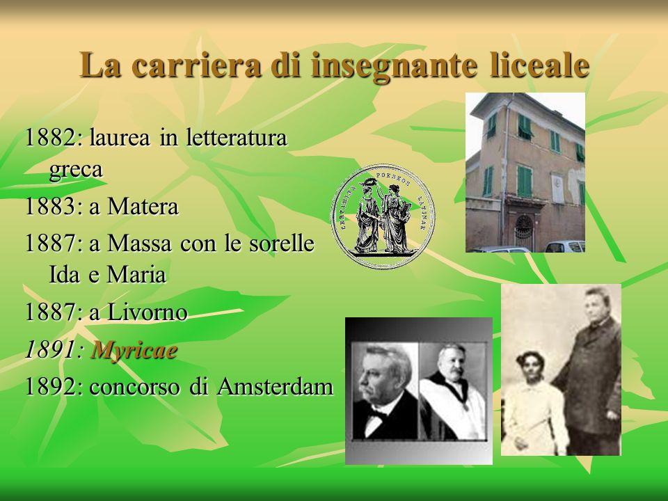 La carriera di insegnante liceale 1882: laurea in letteratura greca 1883: a Matera 1887: a Massa con le sorelle Ida e Maria 1887: a Livorno 1891: Myri