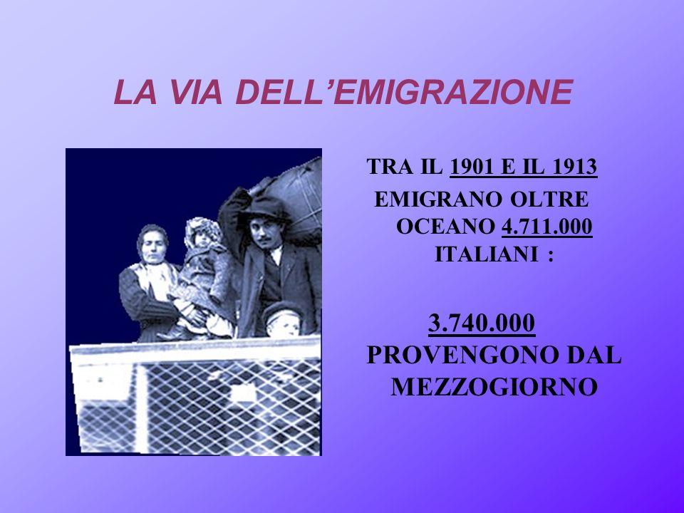 LA VIA DELLEMIGRAZIONE TRA IL 1901 E IL 1913 EMIGRANO OLTRE OCEANO 4.711.000 ITALIANI : 3.740.000 PROVENGONO DAL MEZZOGIORNO