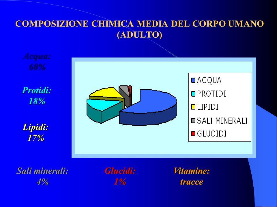 Glucidi: 1% Lipidi: 17% Protidi: 18% Vitamine: tracce Sali minerali: 4% Acqua: 60% COMPOSIZIONE CHIMICA MEDIA DEL CORPO UMANO (ADULTO)