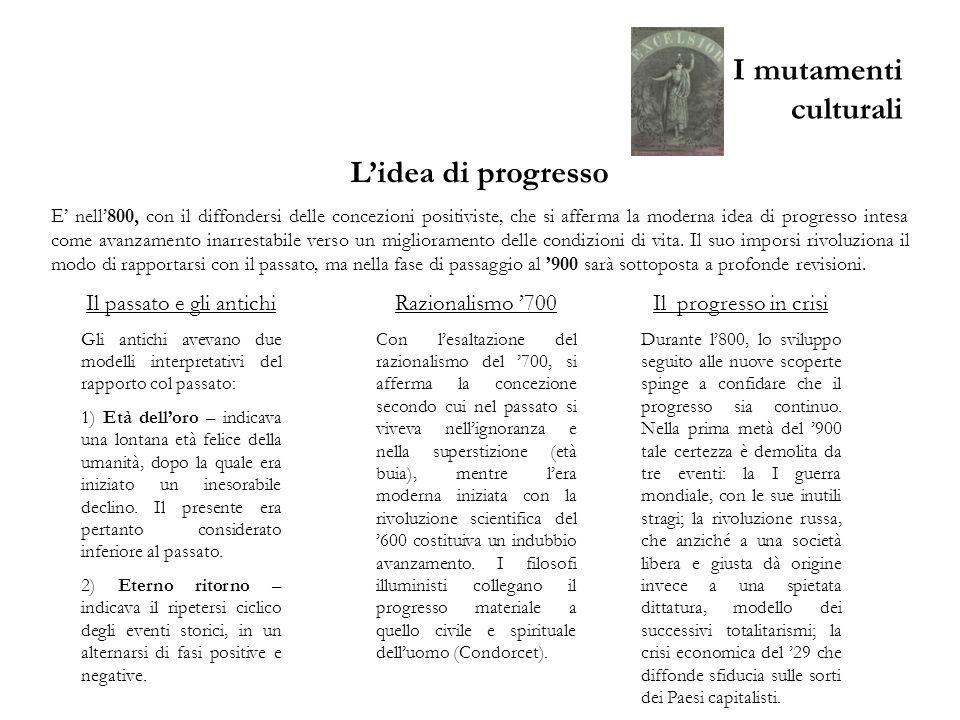 I mutamenti culturali Lidea di progresso E nell800, con il diffondersi delle concezioni positiviste, che si afferma la moderna idea di progresso intes
