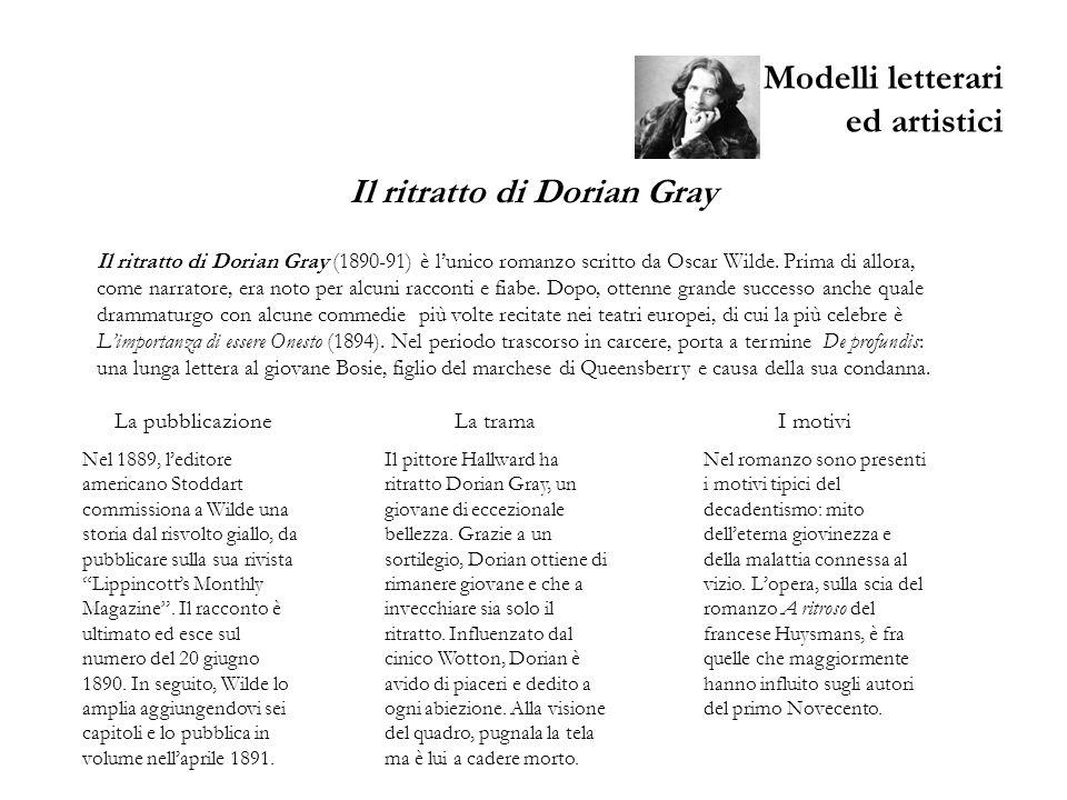 Modelli letterari ed artistici Il ritratto di Dorian Gray (1890-91) è lunico romanzo scritto da Oscar Wilde. Prima di allora, come narratore, era noto