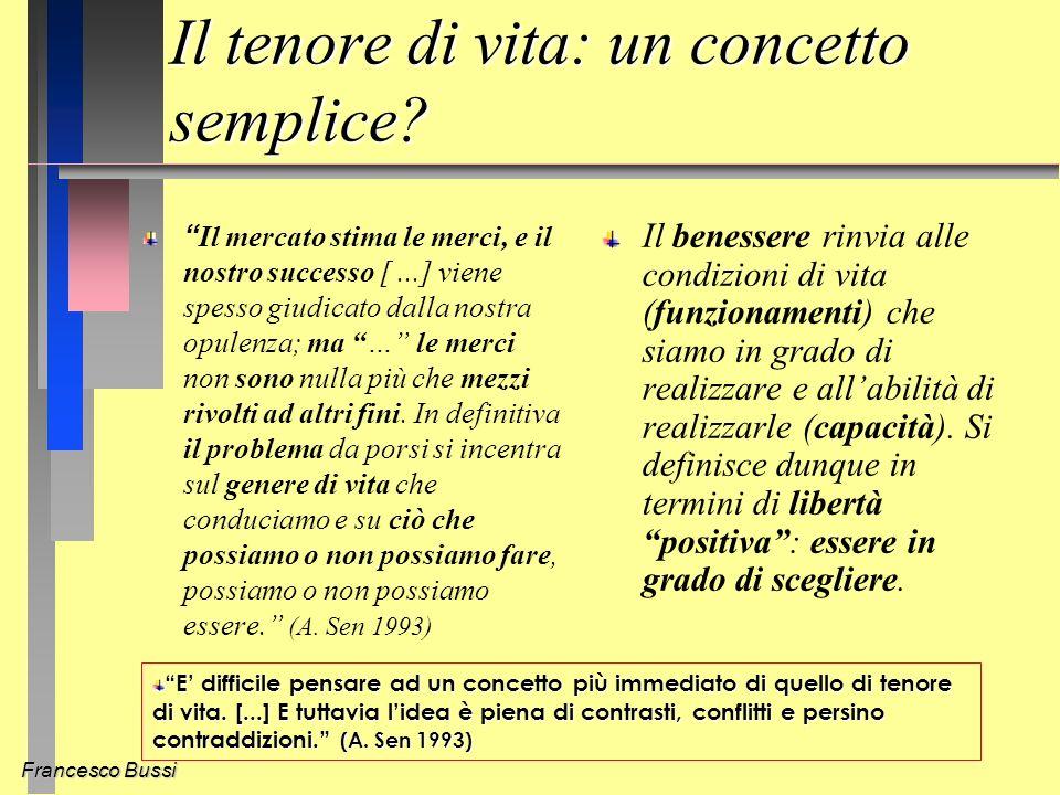 Francesco Bussi Il tenore di vita: un concetto semplice.
