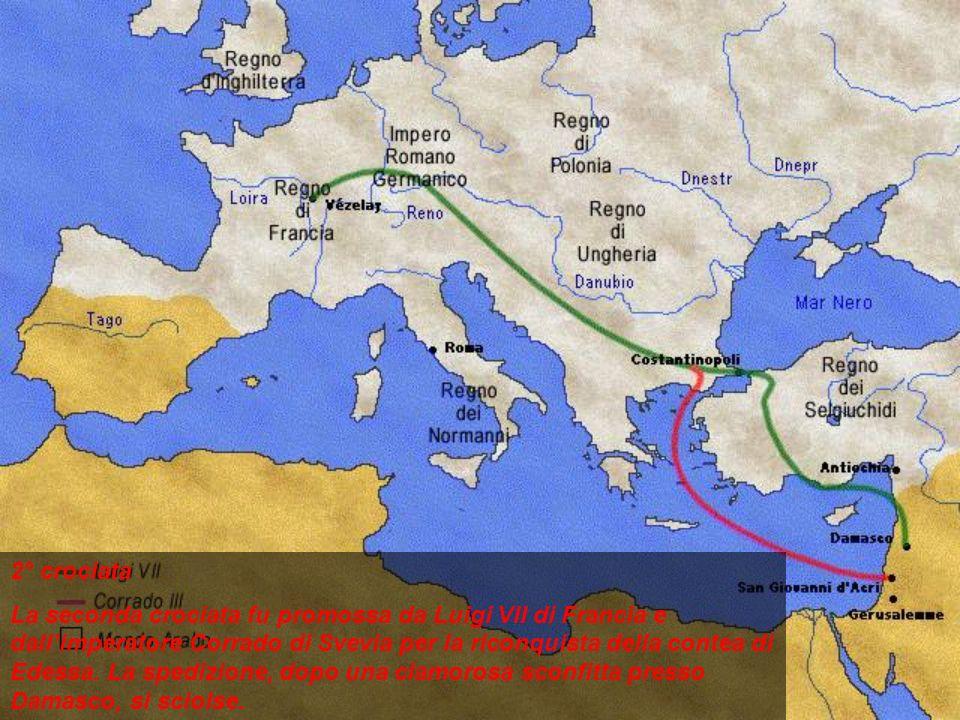 2° crociata La seconda crociata fu promossa da Luigi VII di Francia e dallimperatore Corrado di Svevia per la riconquista della contea di Edessa. La s