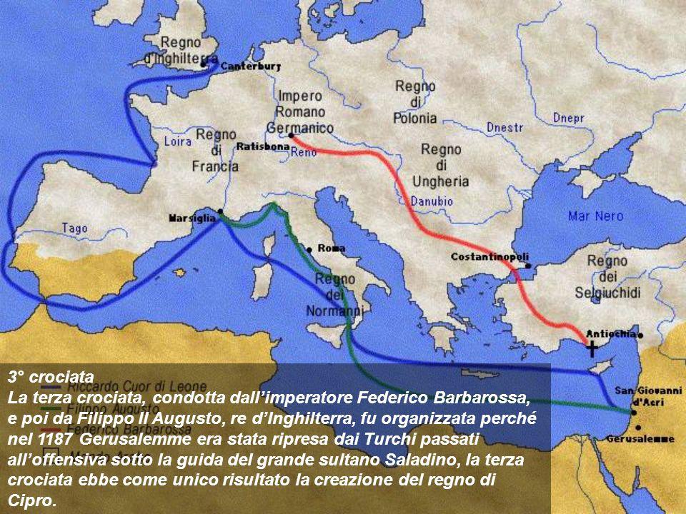 3° crociata La terza crociata, condotta dallimperatore Federico Barbarossa, e poi da Filippo II Augusto, re dInghilterra, fu organizzata perché nel 11